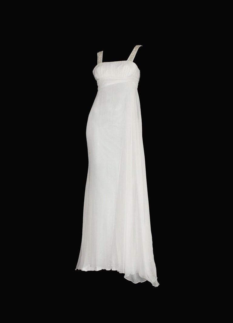 Gray Versace Silk Chiffon Crystal Grecian Meander Evening Gown Wedding Bridal Dress For Sale