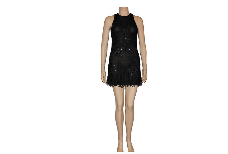 Rare Gianni Versace Couture Crochet Knit Crystal Tulle Mesh Little Black Dress 2