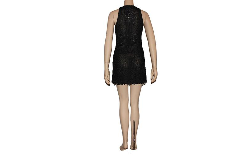 Rare Gianni Versace Couture Crochet Knit Crystal Tulle Mesh Little Black Dress In Excellent Condition For Sale In Switzerland, CH