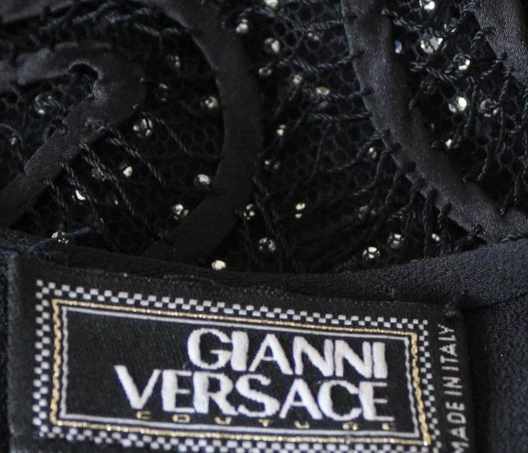 Rare Gianni Versace Couture Crochet Knit Crystal Tulle Mesh Little Black Dress 10