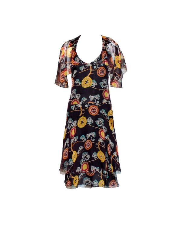 Amazing Chanel  Silk Chiffon CC Logo Print Dress 3