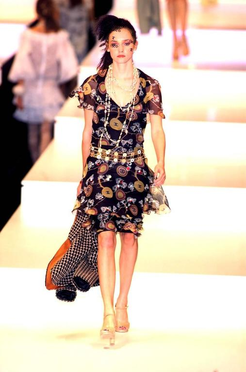 Amazing Chanel  Silk Chiffon CC Logo Print Dress 10