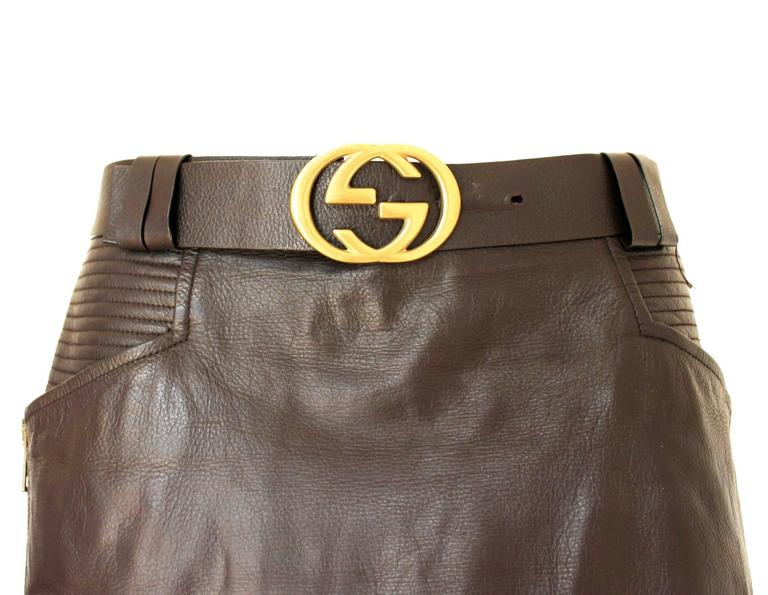 Gucci by Tom Ford FW 2003 Chocolate Brown GG Biker Belted Leather Skirt  4
