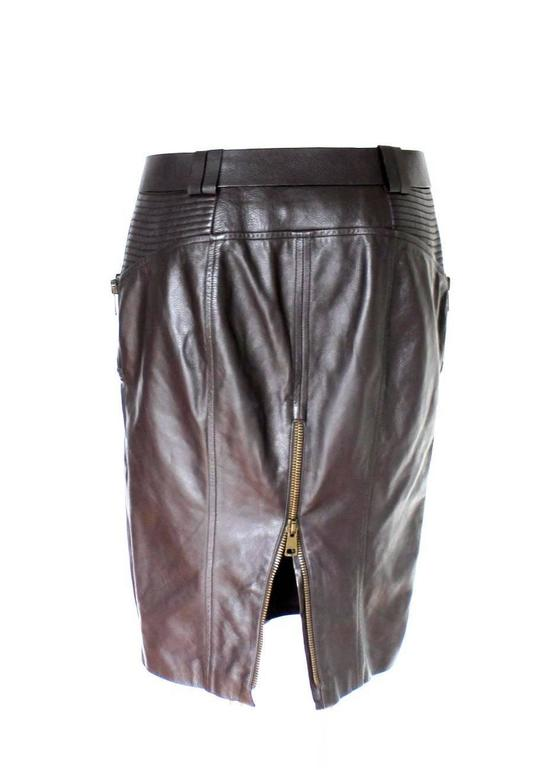 Gucci by Tom Ford FW 2003 Chocolate Brown GG Biker Belted Leather Skirt  2