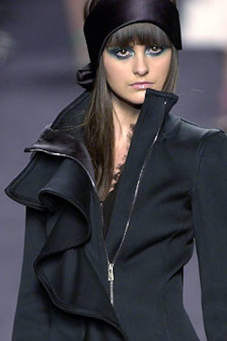 Amazing Yves Saint Laurent Rive Gauche by Tom Ford Black Ruffle Coat 6