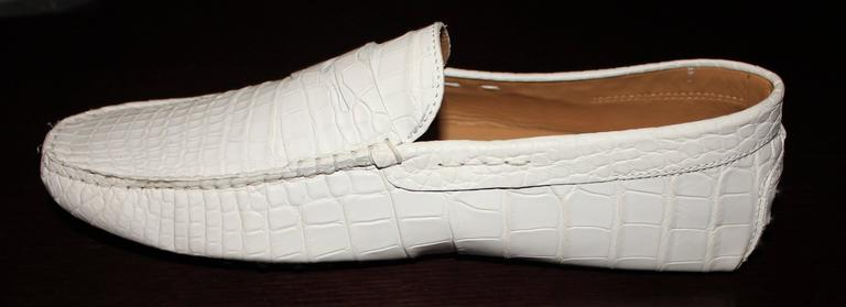 TOD'S White Gommino Driving Shoes Exotic Crocodile Skin Moccasins For Sale 2