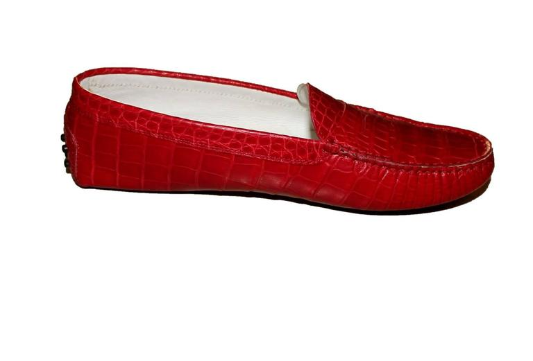 Women's Exotic Tod's Cherry Red Gommino Moccasins Loafers  Alligator Crocodile Skin For Sale