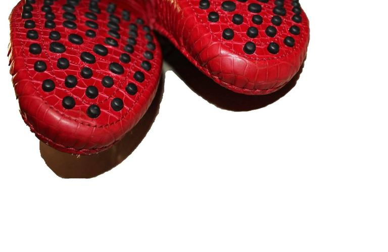Exotic Tod's Cherry Red Gommino Moccasins Loafers  Alligator Crocodile Skin For Sale 4