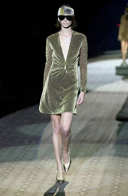 NEW Gucci By Tom Ford 2000 Metallic Deep Plunging Evening Dress  For Sale 2