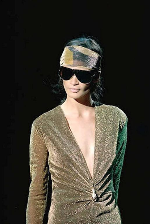 NEW Gucci By Tom Ford 2000 Metallic Deep Plunging Evening Dress  For Sale 5