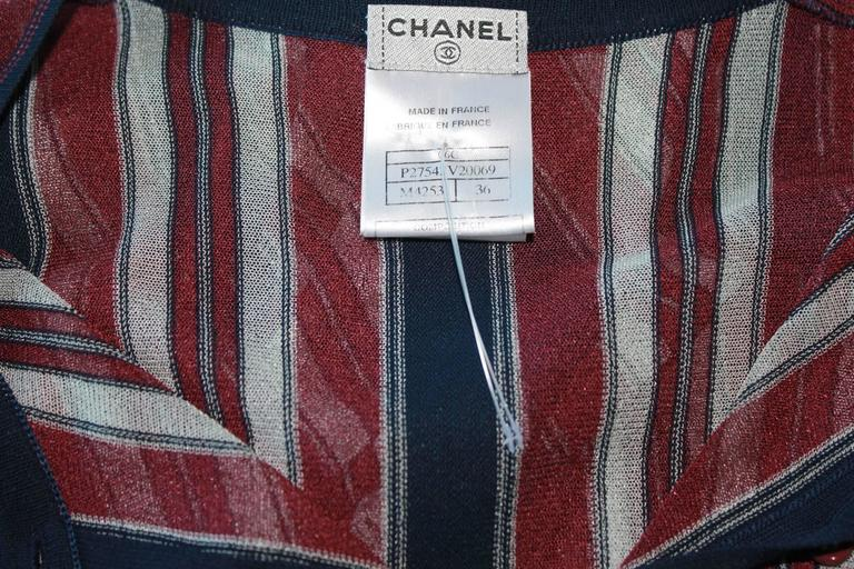 Classic Chanel Striped Blue White Red Maritime Knit Dress 5