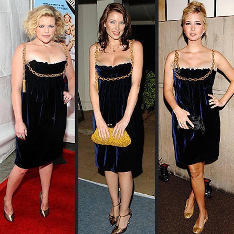 Stunning Dolce & Gabbana Midnight Blue Velvet Chain Empire Dress 7