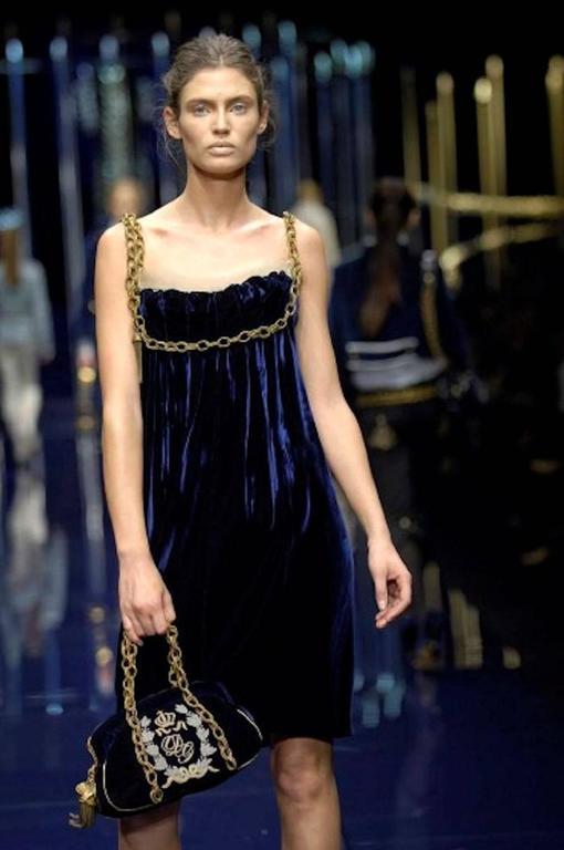 Stunning Dolce & Gabbana Midnight Blue Velvet Chain Empire Dress 8