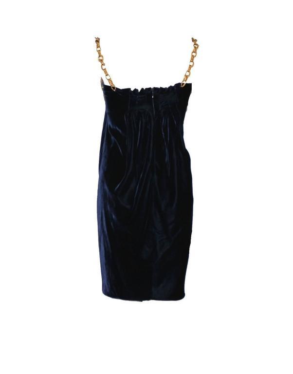 Stunning Dolce & Gabbana Midnight Blue Velvet Chain Empire Dress 2