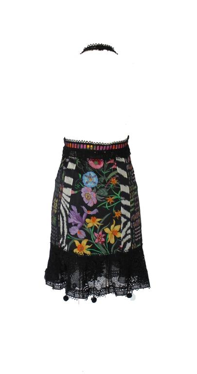 Black Famous Gucci Flora Print Floral Crochet Knit Macrame Dress For Sale