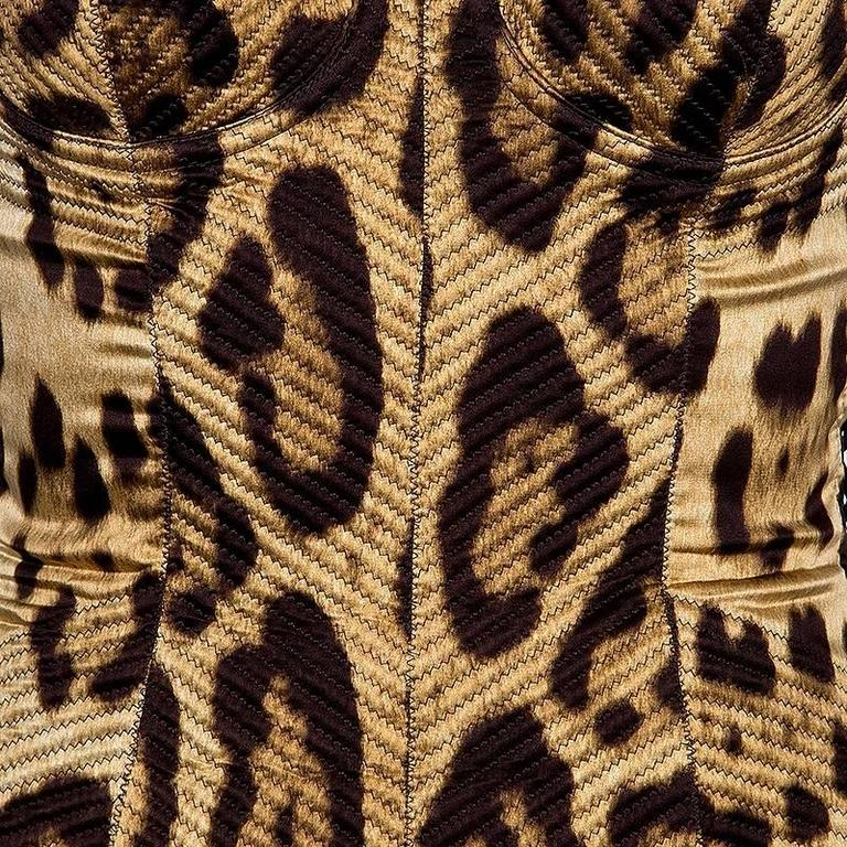 Stunning Dolce & Gabbana Corset Leopard Cheetah Print Silk Bodycon Dress 3