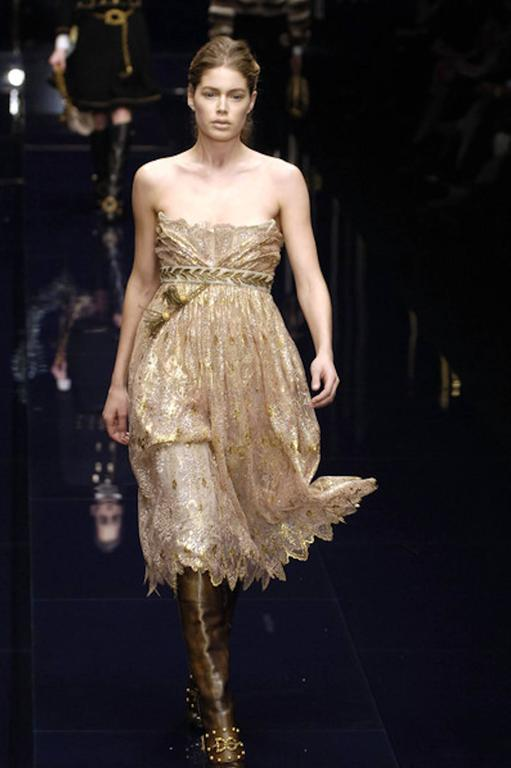 Dolce and Gabbana Golden Lace Tassel Empire Dress For Sale at 1stdibs