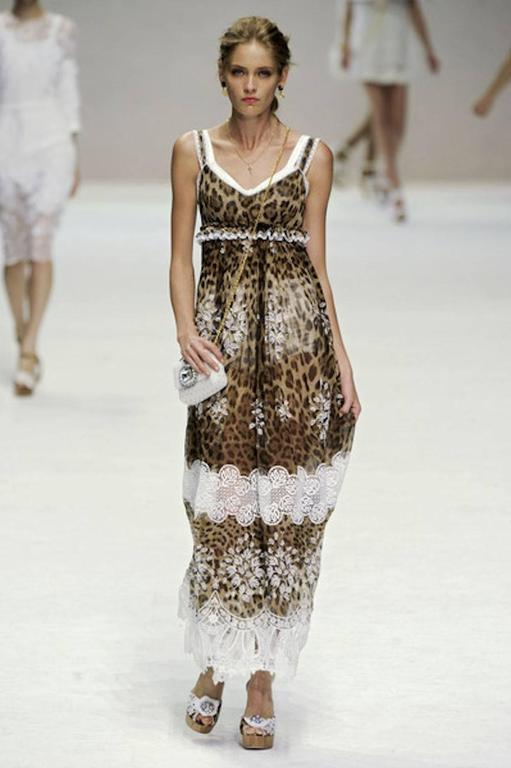 Stunning Dolce & Gabbana Leopard Cheetah Print Maxi Dress Gown For Sale 2