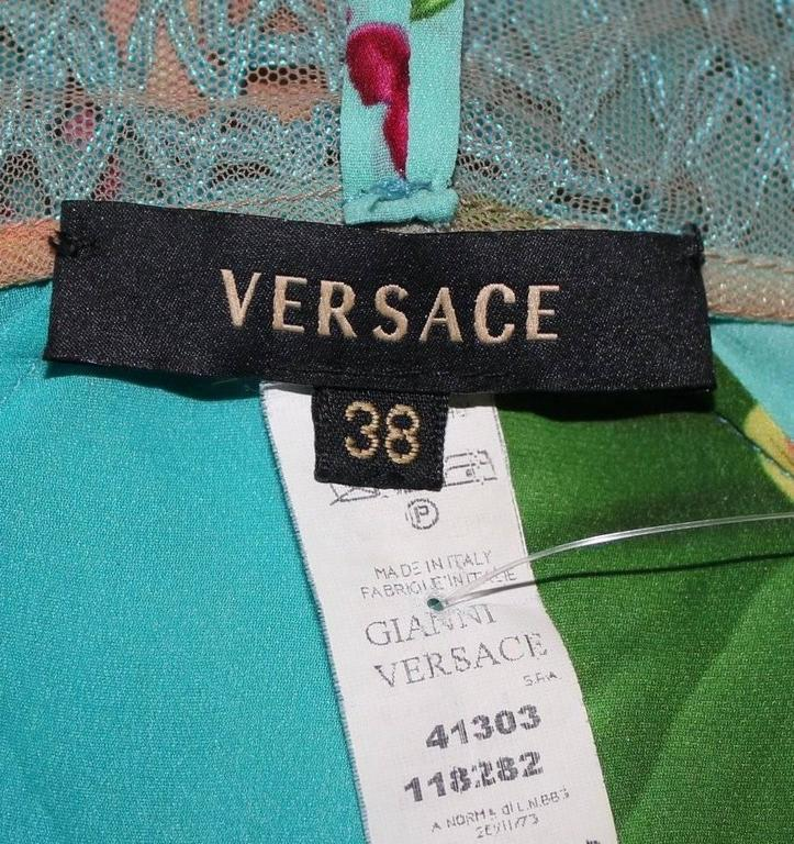 Versace Floral Orchid Print Silk & Macrame Dress 5