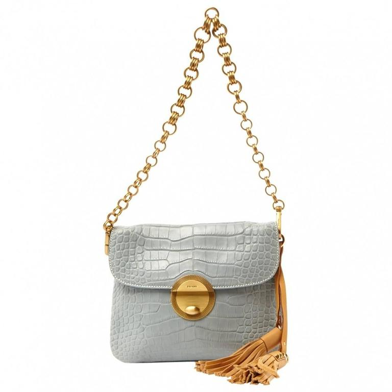 Pale Blue Prada Alligator Tassle Handbag Purse 3