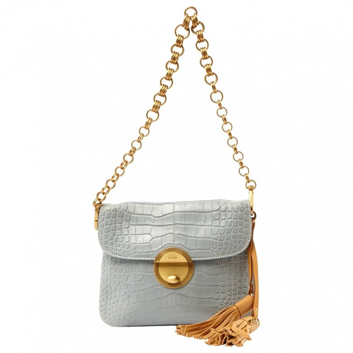 prada saffiano lux small tote bag - Pale Blue Prada Alligator Tassle Handbag Purse at 1stdibs