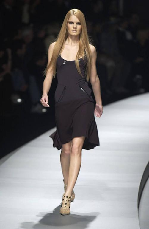 Versace Black Corset Zip Dress For Sale 3