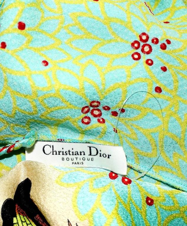 Christian Dior by John Galliano Asian Print Crepe Silk Dress Gown For Sale 1