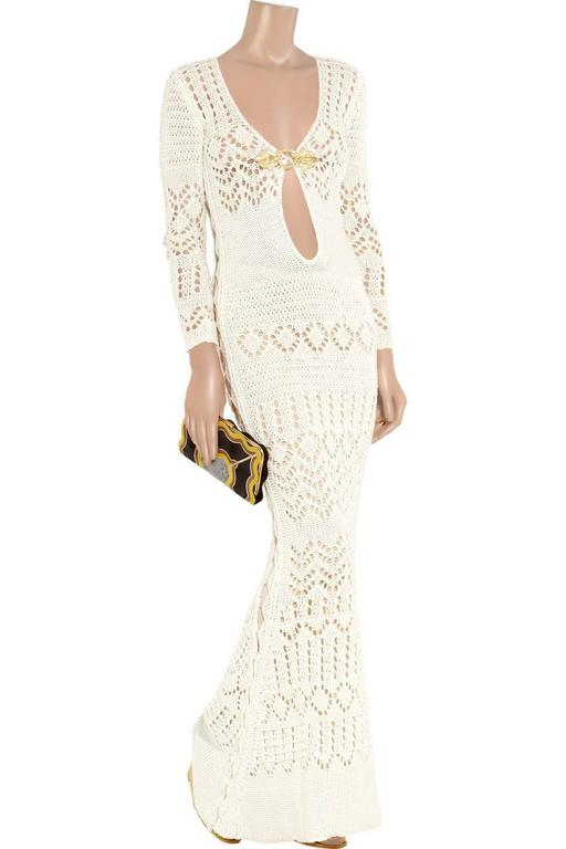 White Gorgeous Emilio Pucci Crochet Knit Evening Gown For Sale