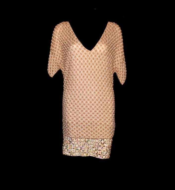 Missoni Gold Metallic Crochet Knit Beaded Crystal Dress In New Condition For Sale In Switzerland, CH