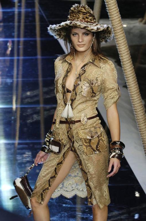 Unique Dolce & Gabbana Python Snakeskin Lace Tortoise Dress Gown 10