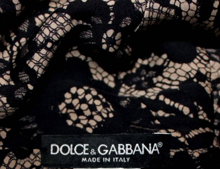 Fantastic Dolce Gabbana Crochet Knit Lace Print Silk Dress 7
