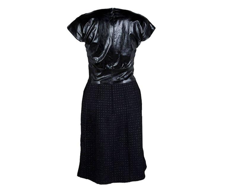 Stunning Chanel Black Leather & Tweed Dress  2