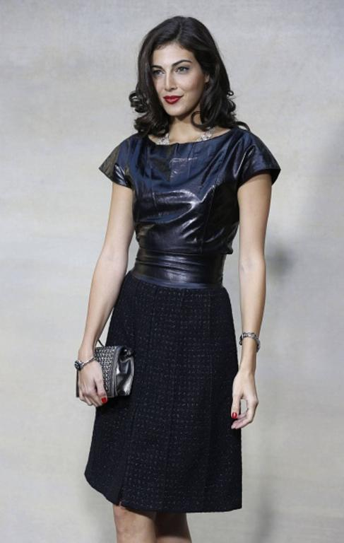 Stunning Chanel Black Leather & Tweed Dress  5