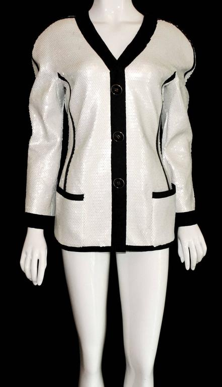 Gray Rare Museum Piece 1990s Chanel Sequin Jacket shown at Met Museum 2005 Exhibition For Sale