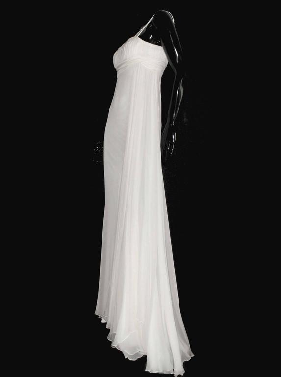 Women's Versace Silk Chiffon Crystal Grecian Meander Evening Gown Wedding Dress For Sale