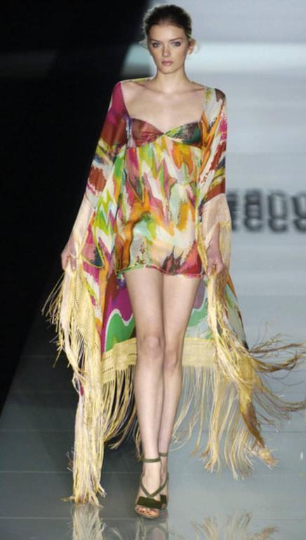 Fringed Missoni Silk Mini Dress with Cape For Sale 1