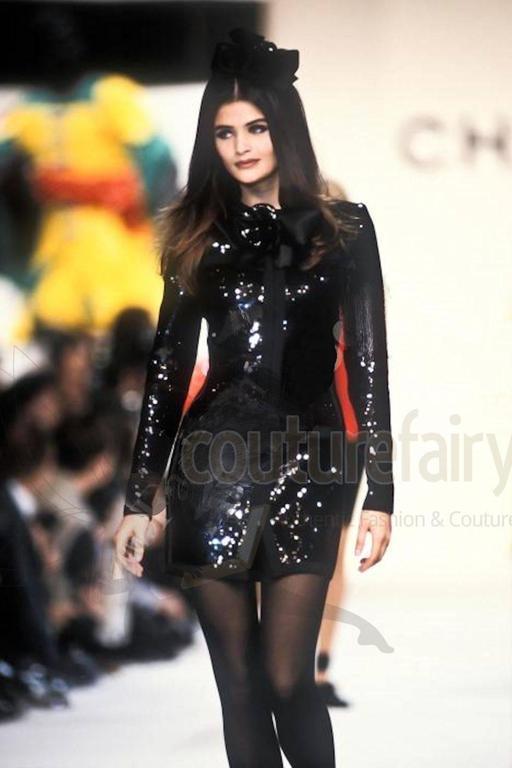 Amazing Black Chanel Sequin Silk Evening Dress Coat Jacket 9