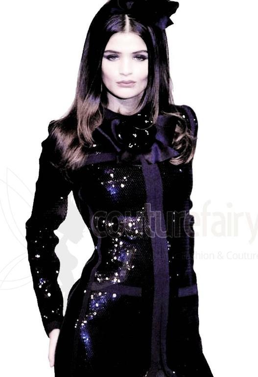 Amazing Black Chanel Sequin Silk Evening Dress Coat Jacket 10