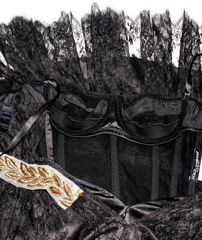 Stunning Dolce & Gabbana Black French Lace Laurel Dress 5