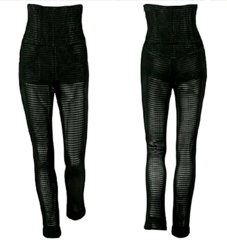Black Iconic Chanel Mesh High Waist Corset Pants Jumpsuit For Sale