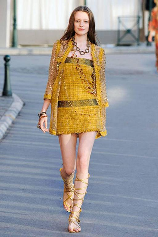 Chanel Gold Metallic Fantasy Tweed Fringe Dress with Crystals 7