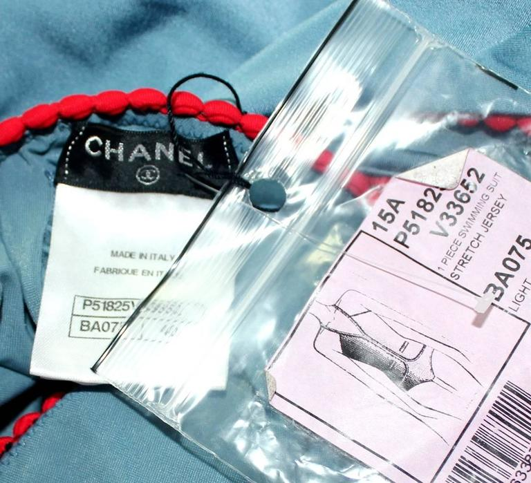 Women's Chanel One-Piece Signature Swimsuit CC Buttons For Sale