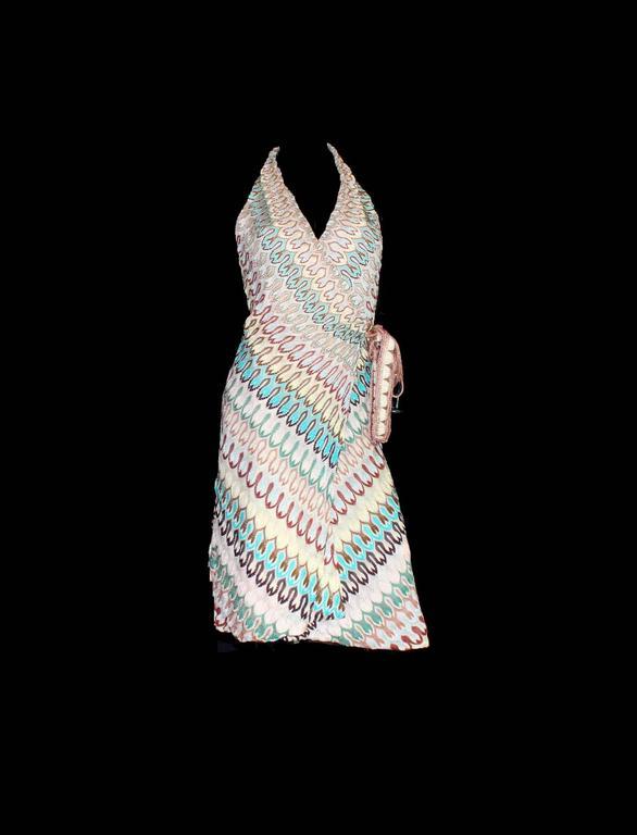 Gray Stunning Missoni Zigzag Signature Knit Wrap Dress For Sale