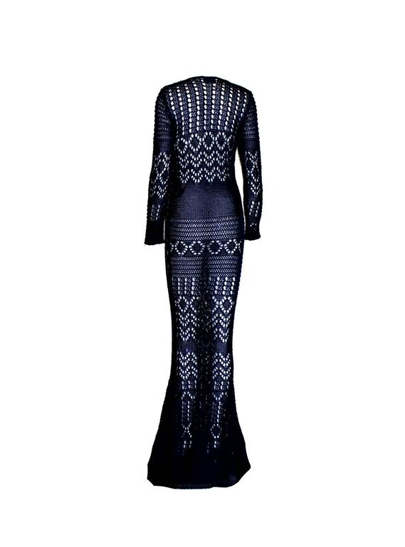 Black Breathtaking Midnight Blue Emilio Pucci Crochet Knit Evening Gown Dress For Sale