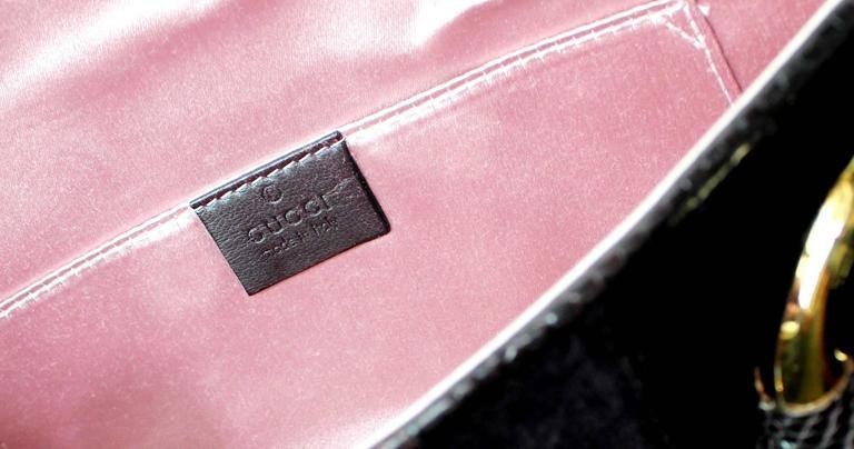 Gucci by Tom Ford Velvet GG Logo Exotic Lizard Skin Horsebit XXL Clutch Bag For Sale 1