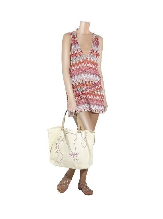 NEW Missoni Signature Chevron Crochet Knit Belted Tunic Mini Dress For Sale 2