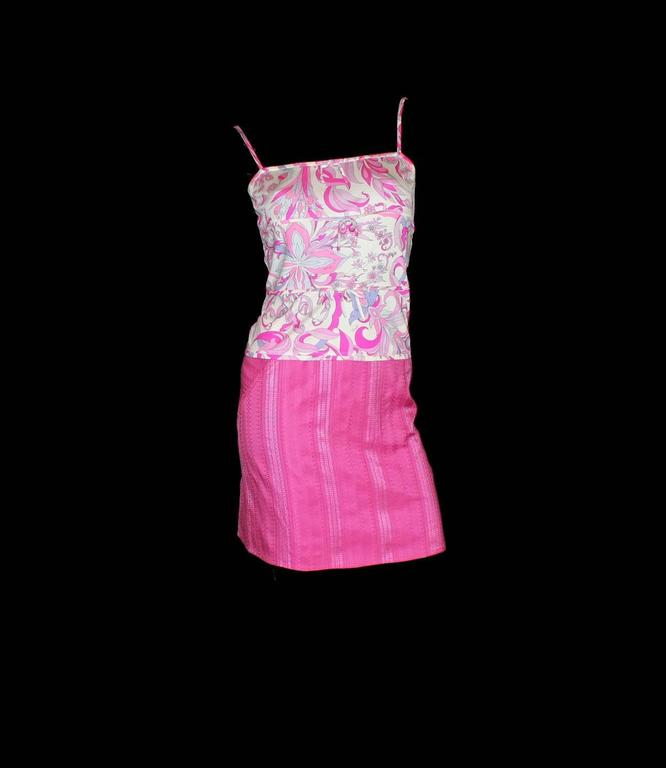 Emilio Pucci Hot Pink Signature Print Silk Skirt Suit Ensemble Set Dress In Excellent Condition For Sale In Switzerland, CH