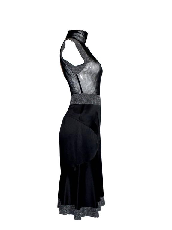 Black Dolce & Gabbana Gunmetal Tulle Silk Dress with Stand Up Collar For Sale