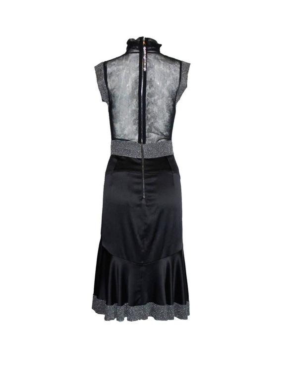 Dolce & Gabbana Gunmetal Tulle Silk Dress with Stand Up Collar In Excellent Condition For Sale In Switzerland, CH