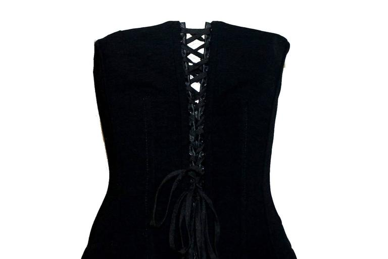 Black Dolce & Gabbana Hourglass Boned Corset Lace Up Dress LBD 2
